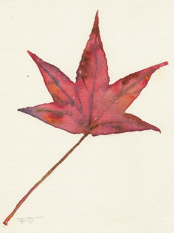 Maple leaf, Original watercolor, Unique