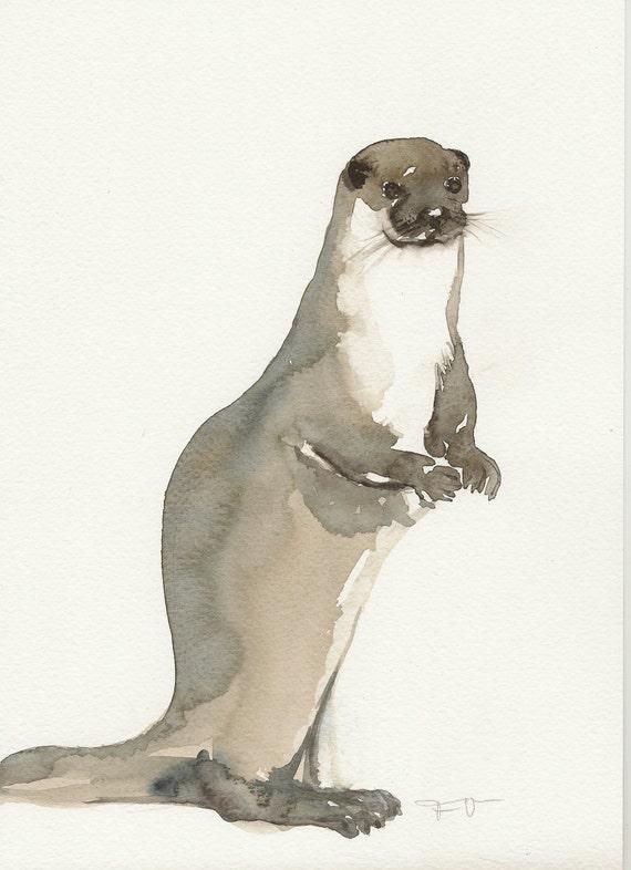 Otter, Original watercolor, Unique Aquarel
