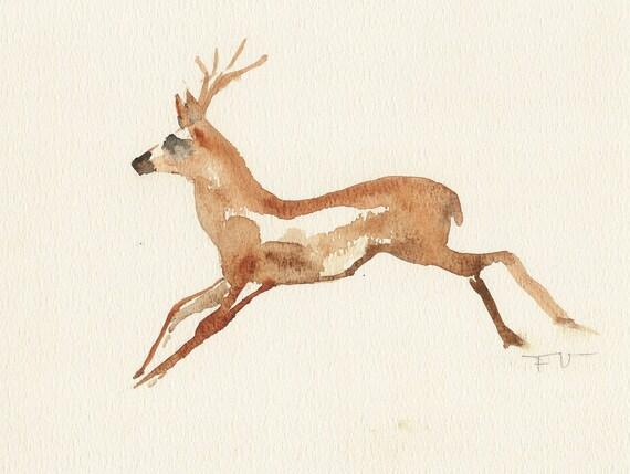 Deer, One of a kind watercolor, Original painting