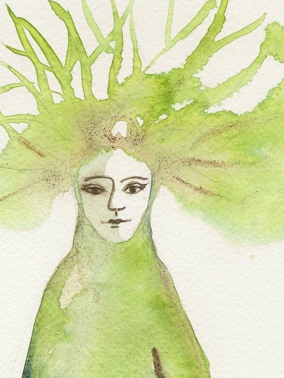 Fairy tree, Original watercolor painting, surreal art painting, watercolor art paintings.
