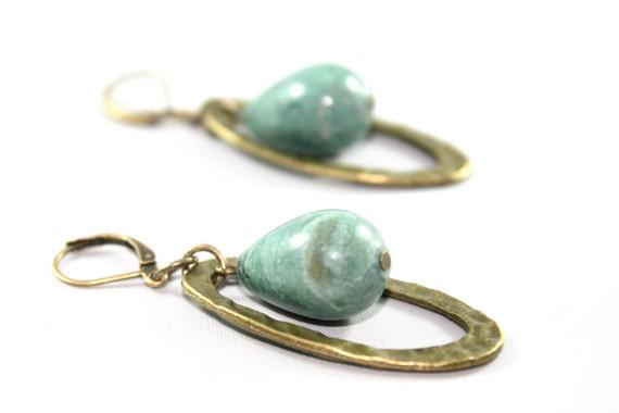 Reserved for Denese - Hammered Earrings -Antique Brass Hoop -Green Aventurine