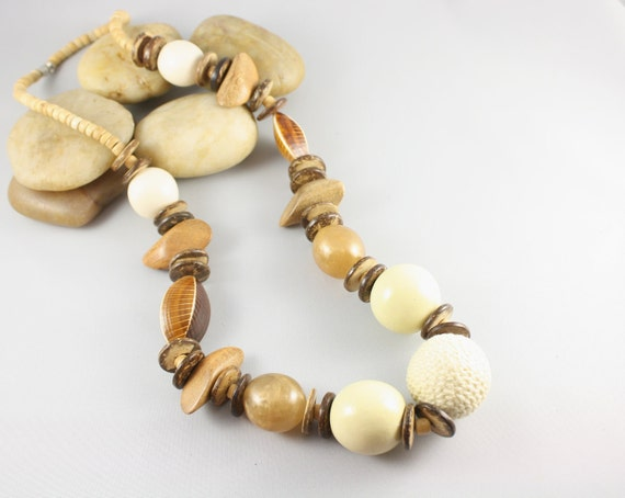 Chunky  Wood Necklace -Natural Wood Necklace