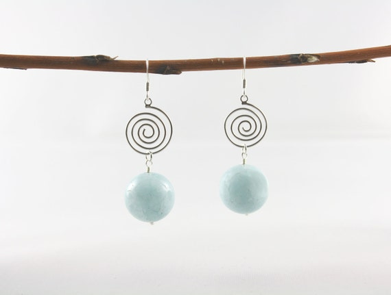 Aquamarine Earrings -March Birthstone -Gemstone Jewellery Aqua Blue