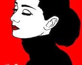 Hepburn - 18 x 12 Red Black Audrey Hepburn Art Hollywood Stars Vintage Hollywood Print - Nixii Art