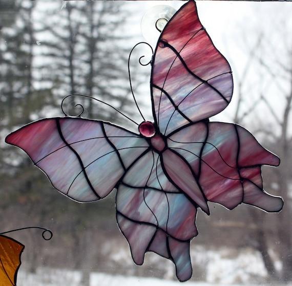 Pink and Blue Iridescent Butterfly Suncatcher