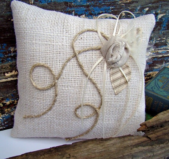Rustic Burlap Ring Bearer Pillow White Bridal Wedding Country
