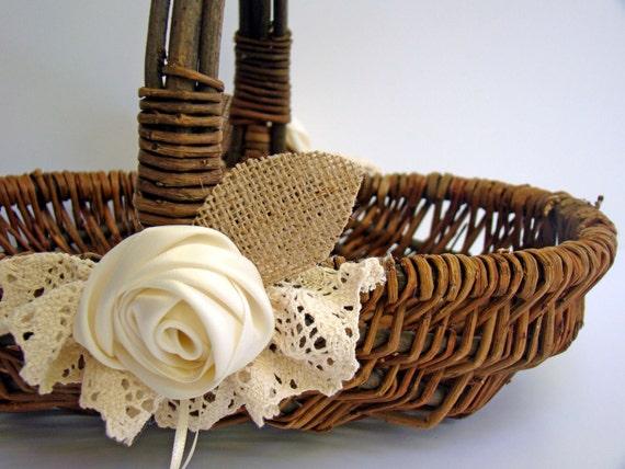 Wedding Flower Basket Flower Girl Rustic Ivory Burlap
