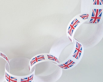 Paper chain garland union jack flag design - pdf printable party banner decorations - traditional flag colours