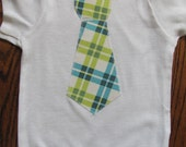 Blue and Green Argyle Tie Onesie Size 3-6 Month Ready to Ship