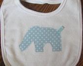Baby Boy Blue Polka Dot Elephant Applique Bib Ready to Ship