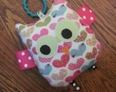 Owl Crinkle Toy - Pink Hearts