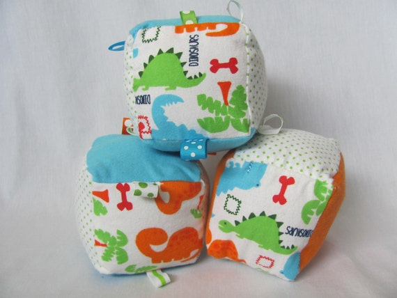 Baby Boy Soft Block Toy - Blue Green Orange Dinosaur