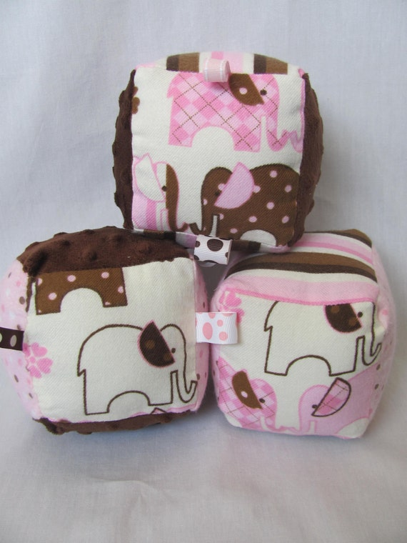 Baby Girl Soft Baby Block Toy - Pink and Brown Elephant