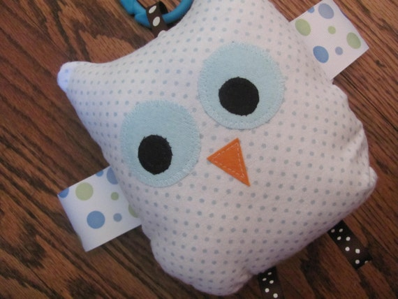 Crinkle Owl Toy - Blue Polka Dot