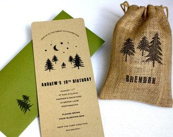 Woodland Backyard Camping Birthday Party Invitation - No. 10 Top Closure Envelope, Personalized Burlap Goodie Bag, Multi-Layered