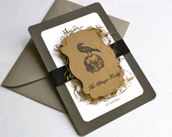 Raven and Skull Halloween Invitation - Grosgrain Ribbon, Custom Chipboard Marquee Tag, Spanish Moss, Multi-Layered Invitation