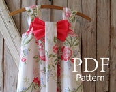 Aubrey - Bow Dress PDF Pattern. Girl's Dress Pattern. Toddler Pattern. Sizes 12m-8 included