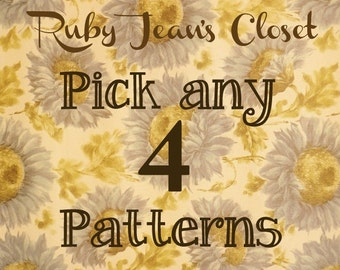 SALE Pick any 4 patterns from Ruby Jean's Closet and SAVE