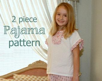 Peggy Sue - Girl's Pajama Pattern - Girl's Sewing Pattern. Toddler Pajama Pattern. Sizes 1-8