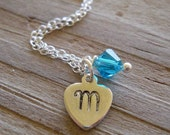 Hand stamped sterling silver heart necklace with a swarovski birthstone crystal, perfect for a junior bridesmaid gift