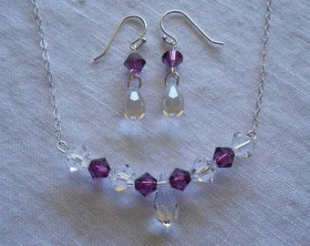 Swarovski briolette crystal drop necklace and earring set in sterling silver... GORGEOUS.. Bridal jewelry. Simply Elegant.