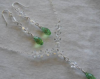 Swarovski briolette crystal drop necklace and earring set in sterling silver..BEAUTIFUL.. Bridal jewelry. Simply Elegant.