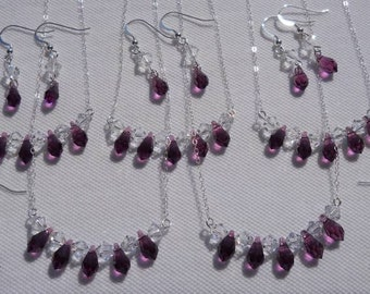 Bridal jewelry,  5 swarovski crystal drop necklace and earring sets, SPARKLE SPARKLE SPARKLE