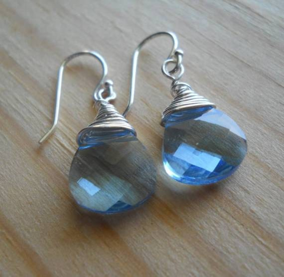 Swarovski aquamarine crystal briolette earrings...Sterling silver wire wrapped on french ear wires