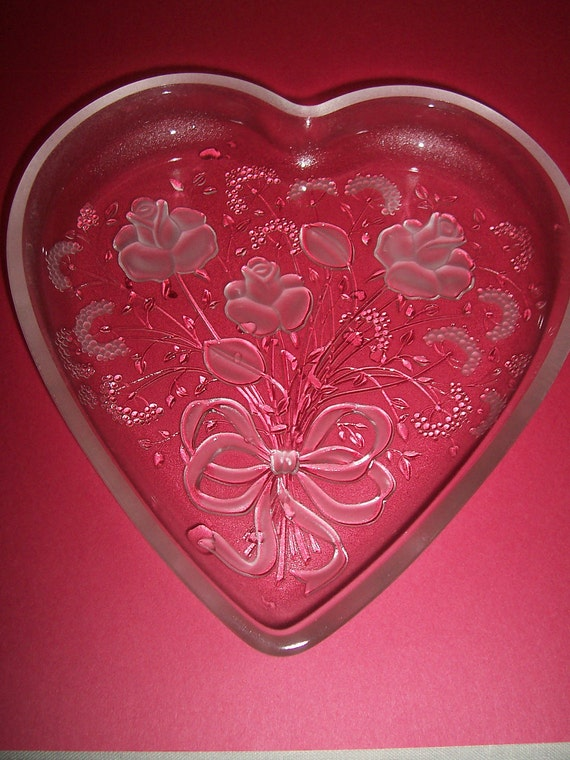 Vintage Glass Heart Dish