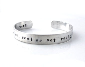 Personalized metal cuff bracelet, custom bracelet, aluminum cuff hand stamped bracelet, real or not real, you love me, girl on fire