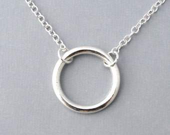 Silver round ring Necklace, everyday Necklace, Halo, simple silver ring halo necklace, everyday jewelry