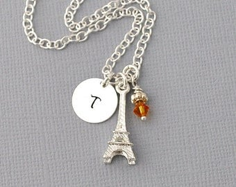 Silver Eiffel Tower Necklace - Monogram - Hand Stamped Necklace - Personalized Jewelry initial necklace