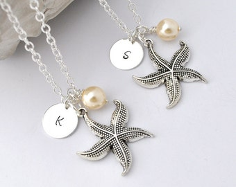 Initial Necklace, Silver starfish Charm with pearl Personalized Initial Necklace, monogram, ocean, sea, wedding, ocean theme, bridesmaid