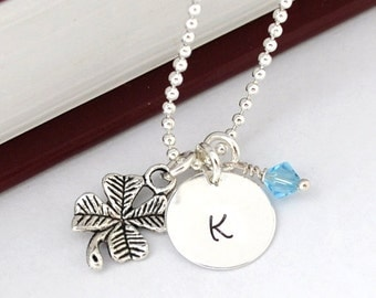 Initial Necklace Silver shamrock Charm Personalized Initial Necklace clover