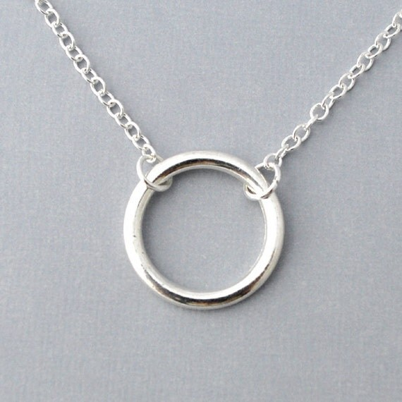 silver ring necklace everyday necklace halo simple