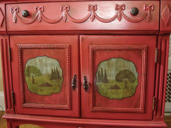 Vintage Handpainted Red French Farmhouse Console Table Countryside Scene