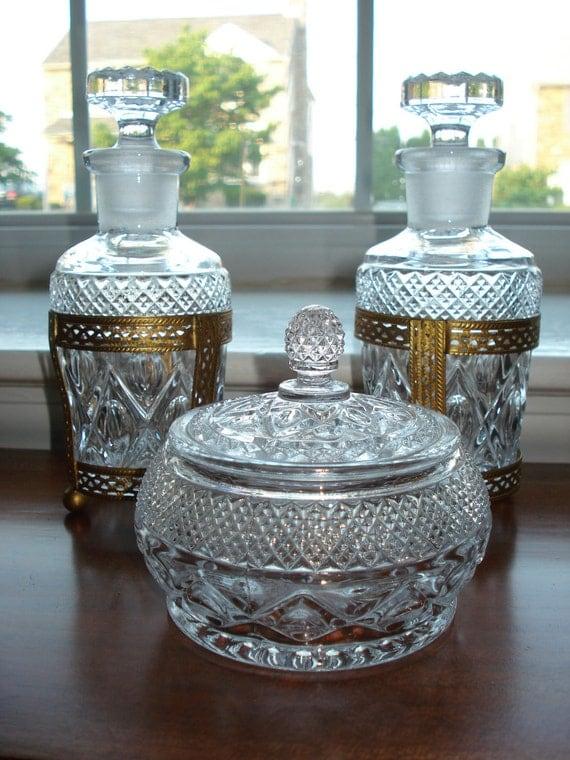 Vintage Glass Vanity Set Perfume Bottles And Powder Box