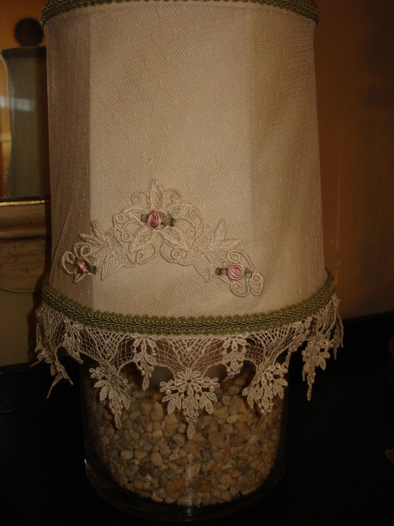 Vintage Lampshade upcycled with Applique and lace Cottage Chic Victorian Little Girls Room