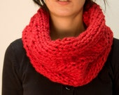 Knit cowl chunky red wool blend winter warm huge loop scarf fashion statement