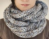 Knit infinity cowl chunky light blue wool blend