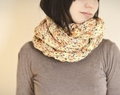 Knit infinity cowl chunky white yellow brown wool blend