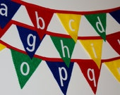 Alphabet Banner, Alphabet Decorations, Alphabet Bunting, Red, Green, Blue, Yellow, Primary Colors Decorations, Classroom Decorations