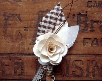 Brown Gingham Rose boutonniere