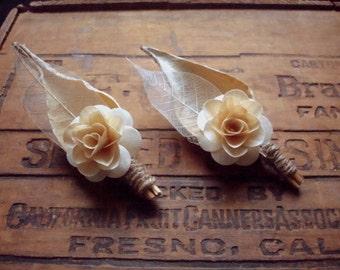 Birch Flower Pod boutonniere