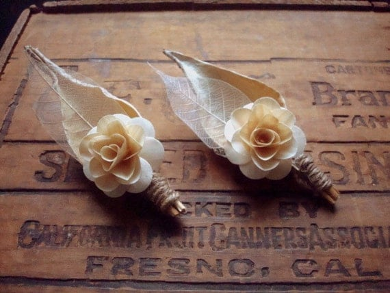 Birch Flower Pod boutonniere