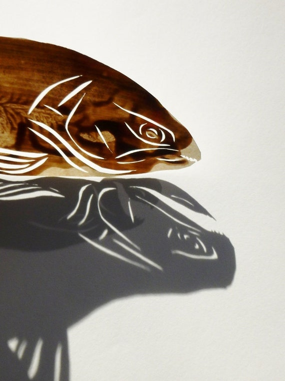 Papercut Trout - Original Hand-cut Paper Artwork - Fish Series