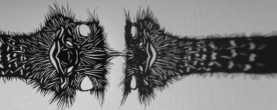 Papercut Ostrich - Original Hand-cut Paper Artwork - Bird Portrait