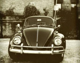 VW Beetle Photograph Vintage Volkswagen Car Black