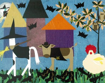 Halloween cards, Set of 6 Folk Art Halloween Cards, Collage Art, primitive Halloween art cards with animals