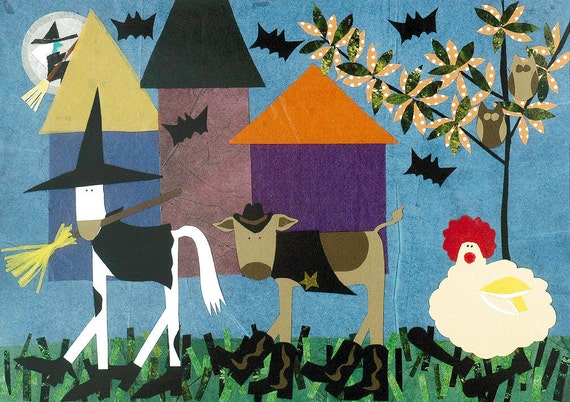 Folk Art Halloween Card Animals In Costume Trick Or Treat Primitive collage art